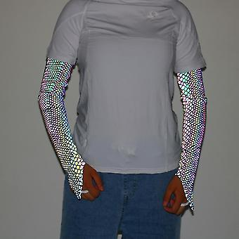 Snakeskin l 1 pair glowing reflective arm sleeves outdoor cycling sleeves sports fingerless gloves lc903