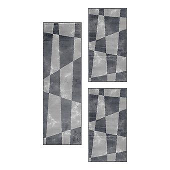 Kurzflor Teppich Set Formen Design Schlafzimmer Teppich Set 3 Teile Set Grau