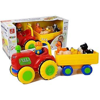 Spielzeugtraktor mit Anhänger - mit Tierbabys und Sound - Rot