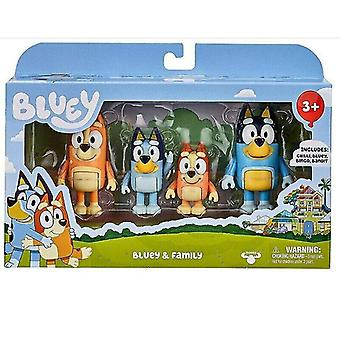 Videospielkonsolen Action Figur bluey Familie Bingo Spielzeug 4 Stück Pack Set Sammlung Spielzeug Kinder Weihnachtsgeschenk