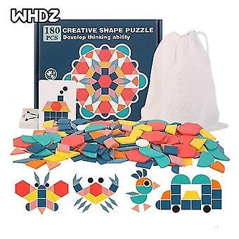 Interlocking blocks 180pcs wooden pattern geometric jigsaw puzzles brain teasers tangrams educational jigsaw toy|