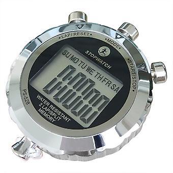 Роскошный 1/100 секунды сентисекундный секундомер Гальванический полностью металлический 2 круга Сплит Память Спорт Хронограф Секундомер Сигнальный ремешок