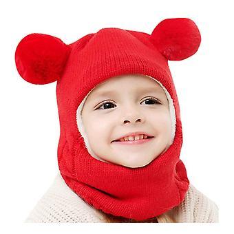 Herbst/Winter Kindermütze Rot Kapuzenbohne Mädchen Warme Kapuzenmütze