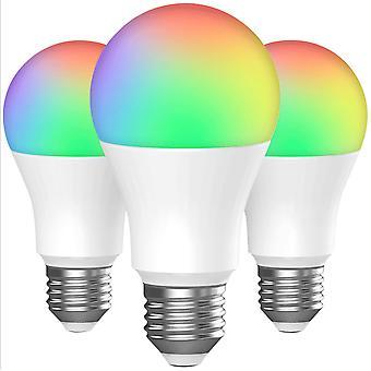 Väri led-lamput (ryhmä 3), 7w Rgbw himmennettävä ledilamppu E27 Kaukosäädin Ympäristön valo tallennustila- ja ajastintoiminnoilla, 7 kirkkaustasoa H: lle