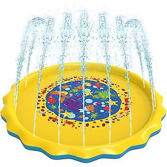 Splash Pad Saugnapf 170cm Wasser Spielmatte Party Sprinkler Splash Pad Sommer Spray Spielzeug für Kinder und Haustiere Outdoor Garten Familienaktivitäten Die Un