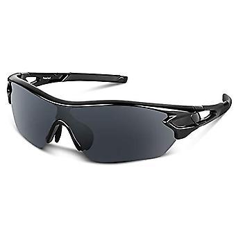 Gafas de sol deportivas polarizadas para hombres Mujeres Jóvenes Béisbol Ciclismo Running Conducción Pesca Golf Motocicleta Tac Gafas Uv400 (negro)