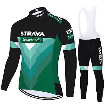 Strava Men's Cycling Jersey Long Sleeves Pro Team Bicycle Clothing - Green