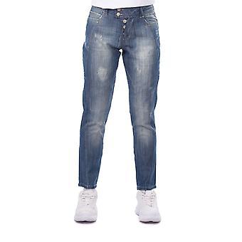 blå hvit kvinners dratt detaljert baggy jean bukser