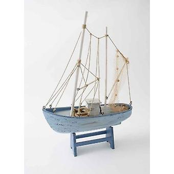 42cm Elegant Netted Wooden Trawler Boat Ocean Lovers Ornament Decoration