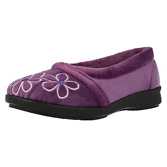 Ladies Easy B Flower Patterned Slippers Primula