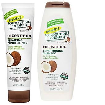 Formule d'huile de coco Palmers conditionnement shampooing 400ml & réparation revitalisant 250ml Pack