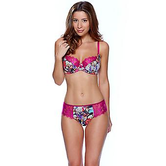 Audelle Rosey Pink and White Floral Print Balconette Bra 148401
