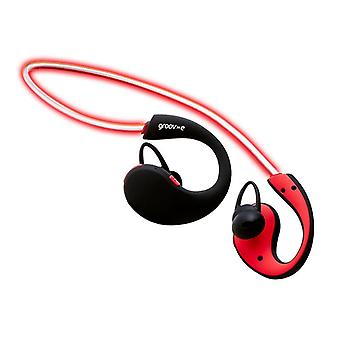 Groov-e Action Wireless Sports Earphones with LED Neckband - Red (GVBT800RD)