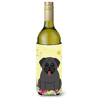Easter Eggs Pug Black Wine Bottle Beverge Insulator Hugger