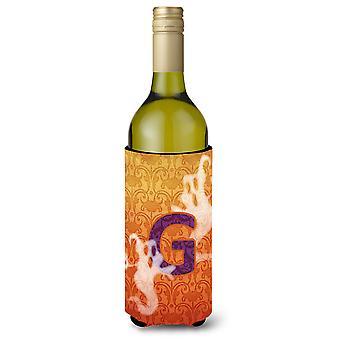 Halloween Ghosts Monogram Initial  Letter G Wine Bottle Beverage Insulator Bever
