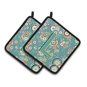 Letter L Circle Circle Teal Initial Alphabet Pair of Pot Holders