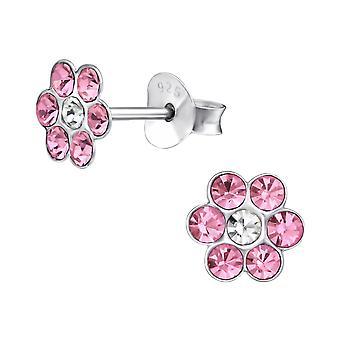Flower - 925 Sterling Silver Crystal Ear Studs - W21836X