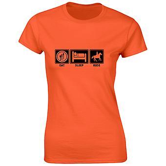 Äta sova Ride rolig ridning hästsport Womens T-Shirt 8 färger genom swagwear