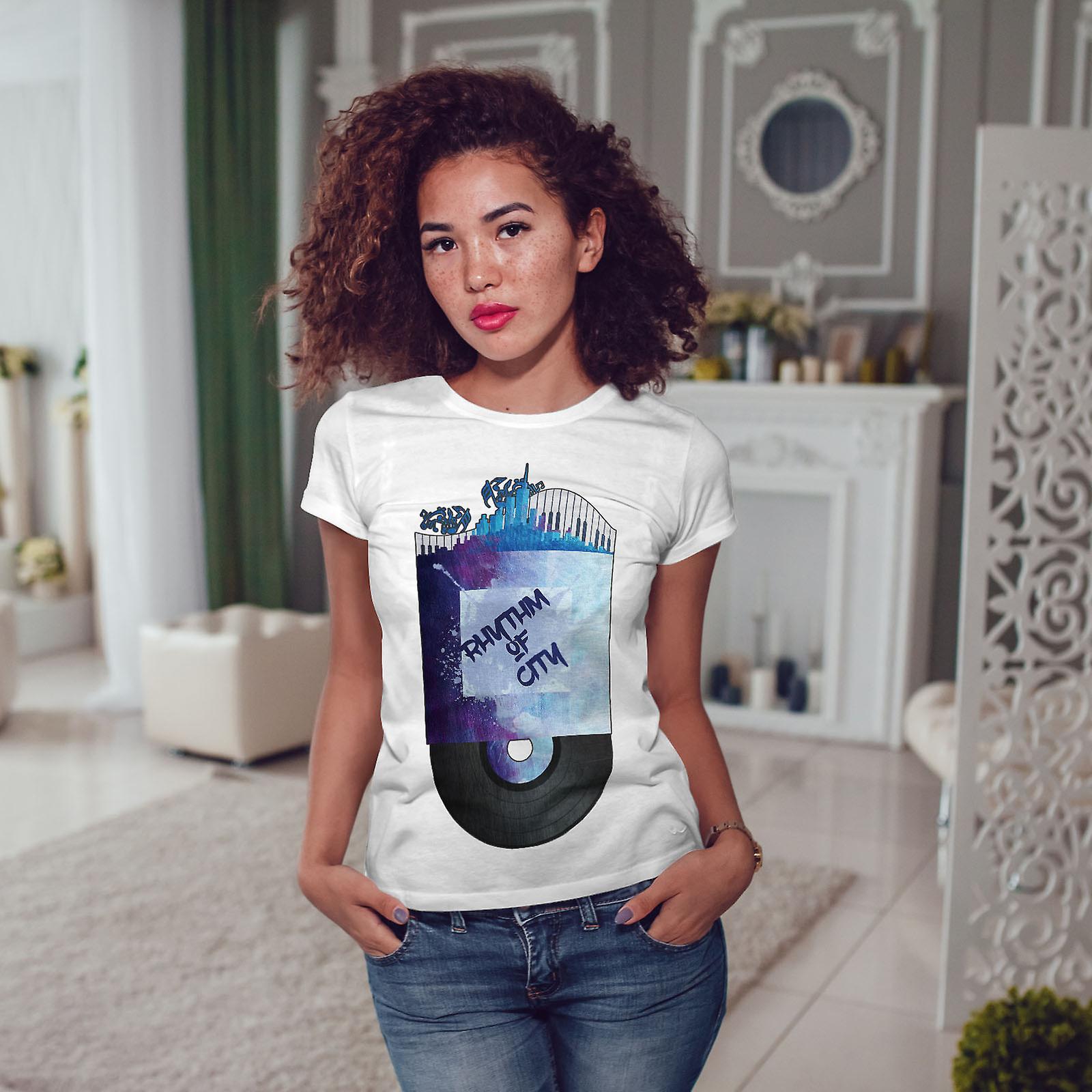 Rythme de la ville des femmes Cool WhiteT-shirt | Wellcoda