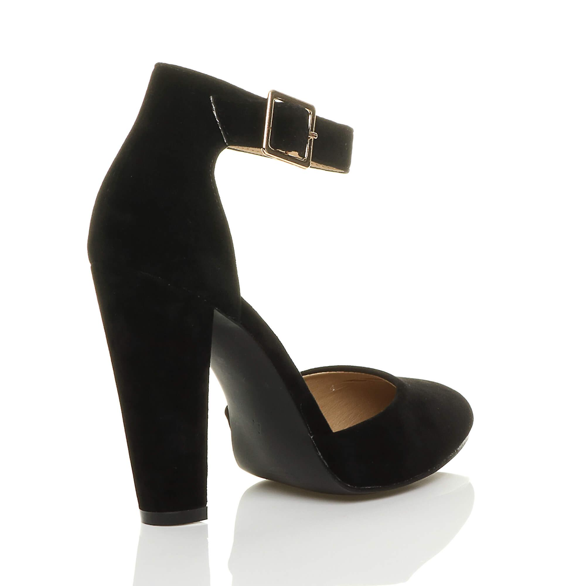 Ajvani Womens High Block Heel Cuff Ankle Strap Buckle Pointed Court Shoes Pumps Sandals