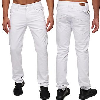 Men Slim Fit Jeans Trousers white Five-Pocket Style buckle Straight leg