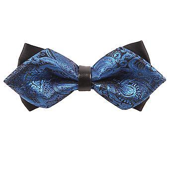 Blue Paisley Diamond Tip Bow Tie