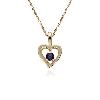Classic Single Stone Round Amethyst Open Love Heart Pendant Necklace in 9ct Yellow Gold 135P1875049