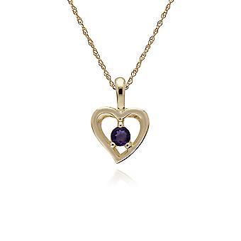 klassisk enkelt stein runde ametyst åpen kjærlighet hjerte anheng halskjede i 9ct gult gull 135P1875049