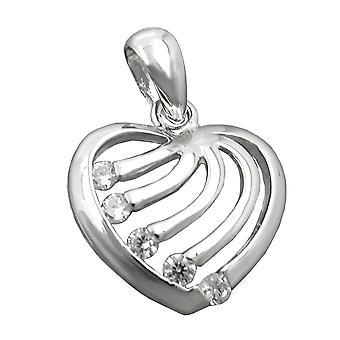 Rhodium-plated heart pendant Silver Pendant with Zircons heart 925 sterling silver