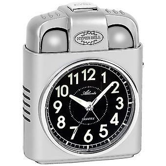 Vækkeur kvarts sølv med lys snooze klokke signal