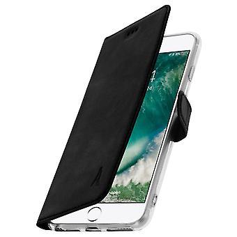 Akashi slank sag, ægte læder tegnebog dække for iPhone 6 + / 6S + / 7 + / 8 + - Sort