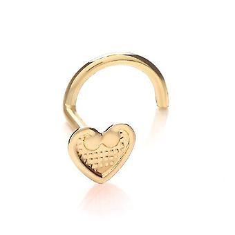 Näsa Stud skruv Piercing 9 ct gult guld, smycken, Vintage hjärta