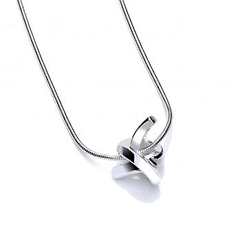 """Cavendish French Polished Silver Love Knot Pendant with 16-18"""" Silver Chain"""