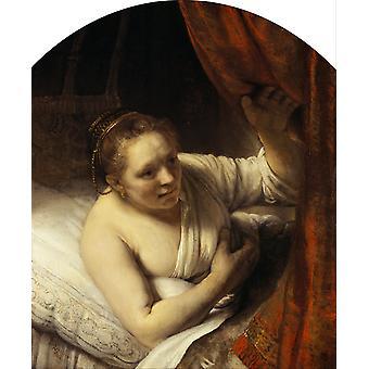 Uma mulher nova na cama 9, REMBRANDT Harmenszoon camionete Rijn, 60x50cm