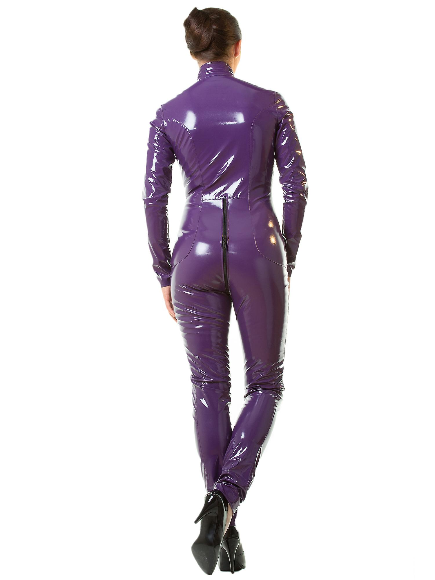 Honour Women's Sexy Catsuit in PVC Purple High Neck & Longsleeves