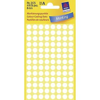 Avery-Zweckform 3175 Puntos pegajosos 8 mm Blanco 416 uds.) Papel Permanente