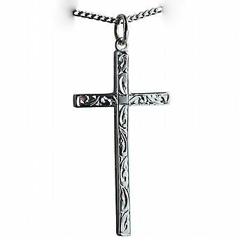 Zilveren 34x18mm hand gegraveerde massief blok Cross met een curb Chain 24 inch