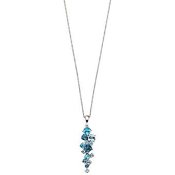 Elements Gold Scattered Long Diamond Pendant - Blue/Silver