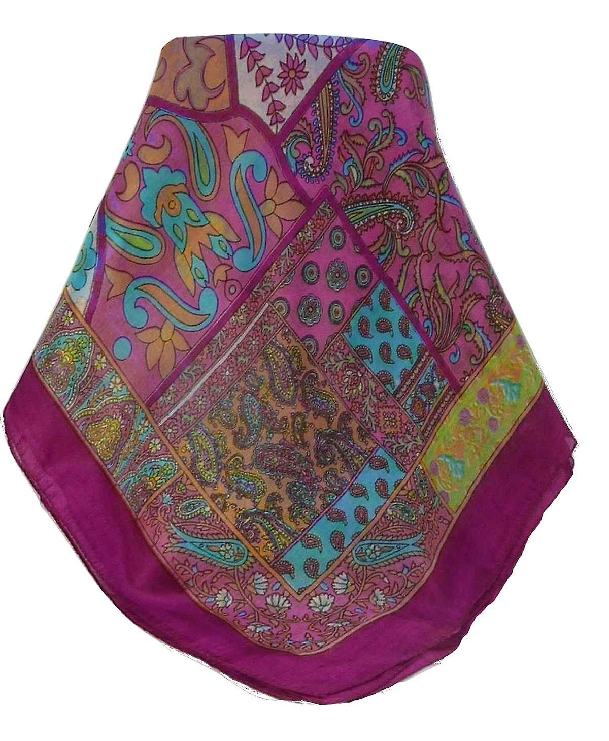 Mulberry Silk Traditional Square Scarf Qia Violet by Pashmina & Silk