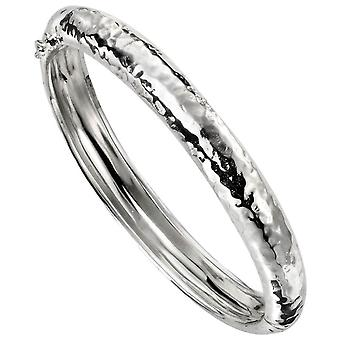 Beginnings Hammered Hinged Bangle - Silver