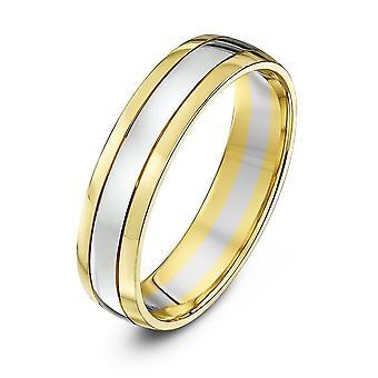 Star Wedding Rings 18ct Yellow & White Gold Court Shape 5mm Wedding Ring
