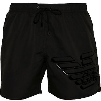 Emporio Armani Large Eagle Logo Swim Shorts, Anthracite Grey