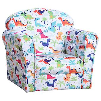 HOMCOM Children Armchair Kids Sofa Tub Chair Seat Cartoon Dinosaur Pattern Bedroom Flannel Wooden Frame Non-slip Playroom Seater