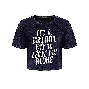 Grindstore Ladies/Womens It`s A Beautiful Day To Leave Me Alone Acid Wash Oversized Cropped T-Shirt