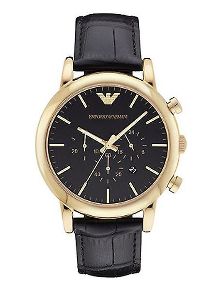 Emporio Armani Ar1917 Men's Watch Analogue Quartz Leather Black