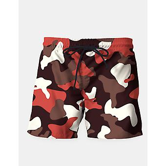 Red camouflage army pattern swim shorts
