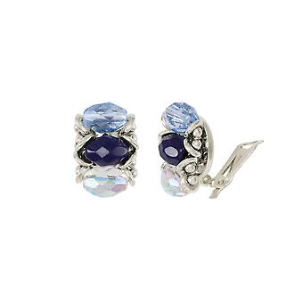 Eternal Collection Luciana Blue Crystal Clip On Earrings