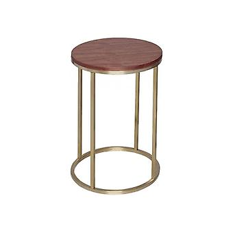 Gillmore Walnut And Gold Metal Contemporary Circular Side Table