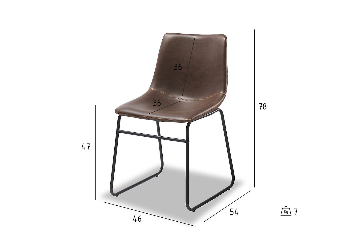 Furnhouse Indiana Dining Chair, Dark Brown, Metal Base, 46x54x78 cm, Set of 2