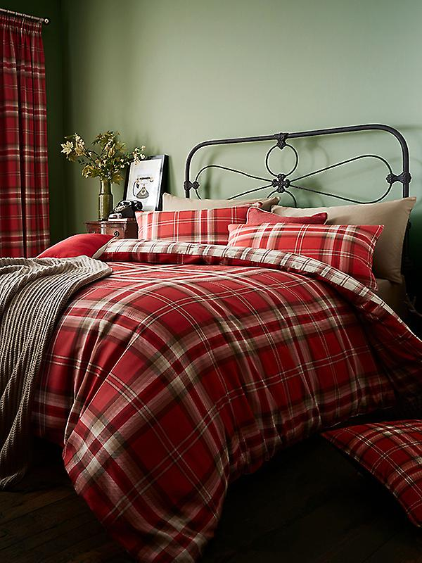 Catherine Lansfield Kelso Tartan Double Duvet Cover Set - Red